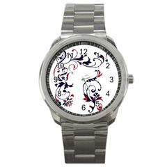 Scroll Border Swirls Abstract Sport Metal Watch by Nexatart