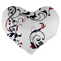 Scroll Border Swirls Abstract Large 19  Premium Flano Heart Shape Cushions by Nexatart