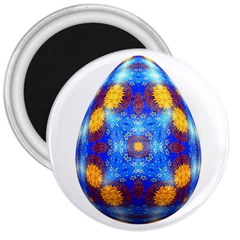 Easter Eggs Egg Blue Yellow 3  Magnets by Nexatart