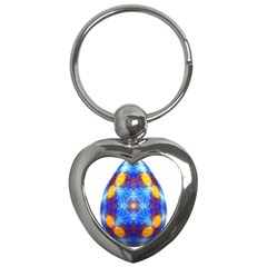 Easter Eggs Egg Blue Yellow Key Chains (heart)  by Nexatart