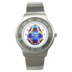 Easter Eggs Egg Blue Yellow Stainless Steel Watch