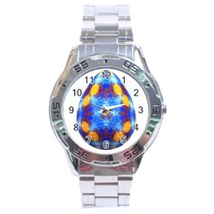 Easter Eggs Egg Blue Yellow Stainless Steel Analogue Watch by Nexatart