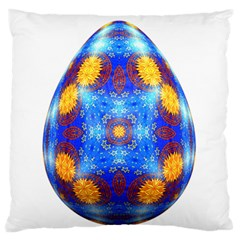 Easter Eggs Egg Blue Yellow Large Flano Cushion Case (one Side) by Nexatart