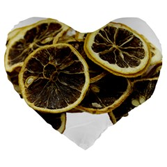 Lemon Dried Fruit Orange Isolated Large 19  Premium Heart Shape Cushions by Nexatart