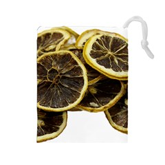 Lemon Dried Fruit Orange Isolated Drawstring Pouches (large)  by Nexatart