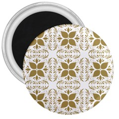 Pattern Gold Floral Texture Design 3  Magnets by Nexatart