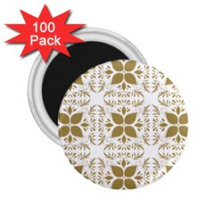 Pattern Gold Floral Texture Design 2 25  Magnets (100 Pack)  by Nexatart