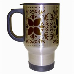 Pattern Gold Floral Texture Design Travel Mug (silver Gray) by Nexatart