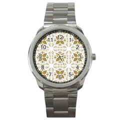 Pattern Gold Floral Texture Design Sport Metal Watch