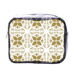 Pattern Gold Floral Texture Design Mini Toiletries Bags