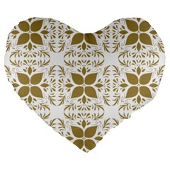 Pattern Gold Floral Texture Design Large 19  Premium Flano Heart Shape Cushions by Nexatart