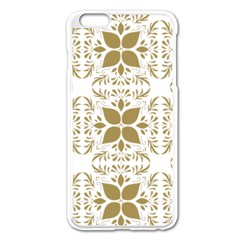 Pattern Gold Floral Texture Design Apple Iphone 6 Plus/6s Plus Enamel White Case by Nexatart