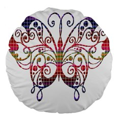 Butterfly Nature Abstract Beautiful Large 18  Premium Round Cushions by Nexatart