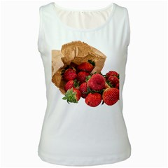 Strawberries Fruit Food Delicious Women s White Tank Top by Nexatart