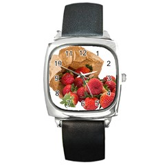 Strawberries Fruit Food Delicious Square Metal Watch by Nexatart