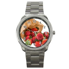 Strawberries Fruit Food Delicious Sport Metal Watch by Nexatart