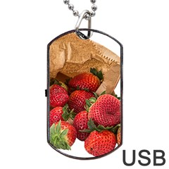 Strawberries Fruit Food Delicious Dog Tag Usb Flash (two Sides) by Nexatart