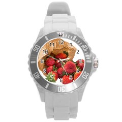Strawberries Fruit Food Delicious Round Plastic Sport Watch (l) by Nexatart