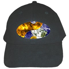 Design Yin Yang Balance Sun Earth Black Cap by Nexatart