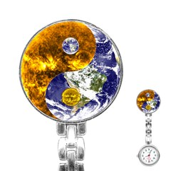 Design Yin Yang Balance Sun Earth Stainless Steel Nurses Watch by Nexatart