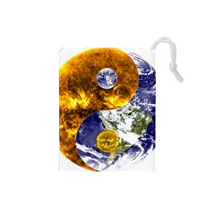 Design Yin Yang Balance Sun Earth Drawstring Pouches (small)