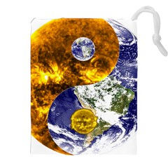 Design Yin Yang Balance Sun Earth Drawstring Pouches (xxl) by Nexatart