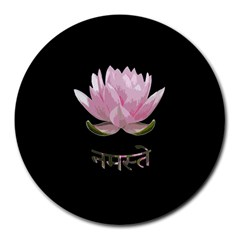 Namaste   Lotus Round Mousepads by Valentinaart