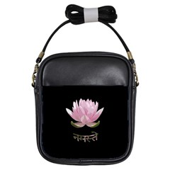 Namaste   Lotus Girls Sling Bags by Valentinaart