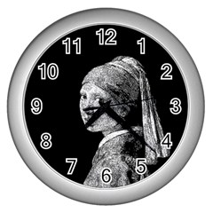 The Girl With The Pearl Earring Wall Clocks (silver)