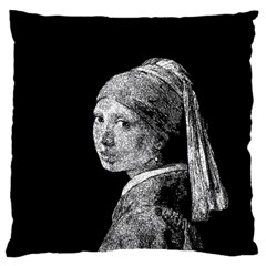 The Girl With The Pearl Earring Large Cushion Case (one Side) by Valentinaart