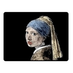 The Girl With The Pearl Earring Fleece Blanket (small) by Valentinaart