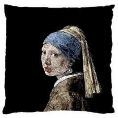 The Girl With The Pearl Earring Large Cushion Case (two Sides) by Valentinaart