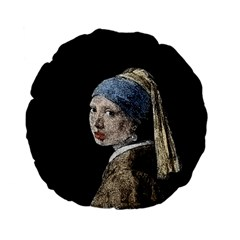 The Girl With The Pearl Earring Standard 15  Premium Flano Round Cushions