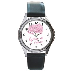 Spring Blossom  Round Metal Watch