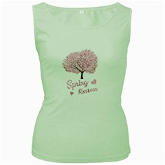 Spring Blossom  Women s Green Tank Top by Valentinaart