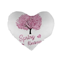 Spring Blossom  Standard 16  Premium Heart Shape Cushions by Valentinaart