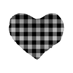Plaid Pattern Standard 16  Premium Heart Shape Cushions by ValentinaDesign