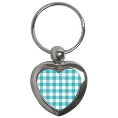 Plaid Pattern Key Chains (heart)  by ValentinaDesign