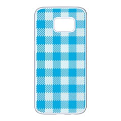 Plaid Pattern Samsung Galaxy S7 Edge White Seamless Case