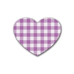 Plaid Pattern Rubber Coaster (heart)  by ValentinaDesign