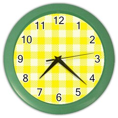 Plaid Pattern Color Wall Clocks by ValentinaDesign