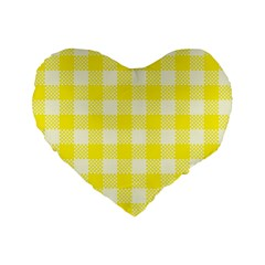 Plaid Pattern Standard 16  Premium Flano Heart Shape Cushions by ValentinaDesign