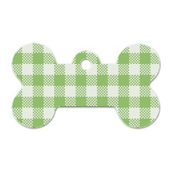 Plaid Pattern Dog Tag Bone (one Side)