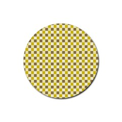 Plaid Pattern Rubber Coaster (round)  by ValentinaDesign