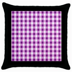 Plaid Pattern Throw Pillow Case (black) by ValentinaDesign