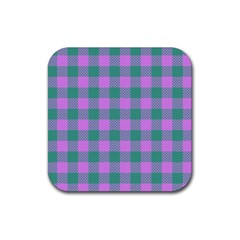 Plaid Pattern Rubber Coaster (square)  by ValentinaDesign