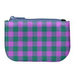 Plaid Pattern Large Coin Purse by ValentinaDesign