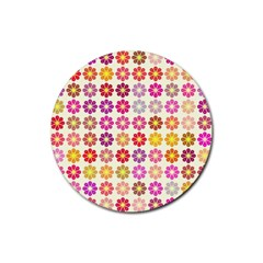 Multicolored Floral Pattern Rubber Coaster (round)  by linceazul