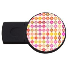 Multicolored Floral Pattern Usb Flash Drive Round (2 Gb) by linceazul