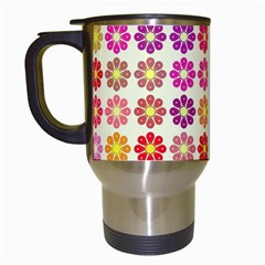 Multicolored Floral Pattern Travel Mugs (white) by linceazul